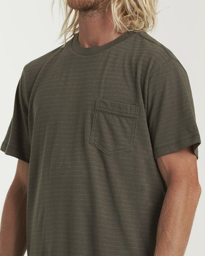 3 Mesa Crew Short Sleeve Pocket T-Shirt Green M902WBME Billabong