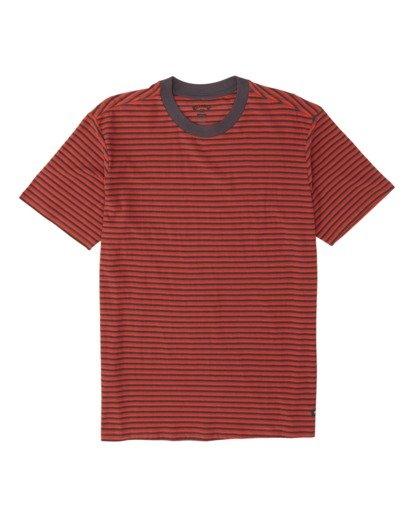 3 Delta Crew Striped T-Shirt Red M9041BDE Billabong