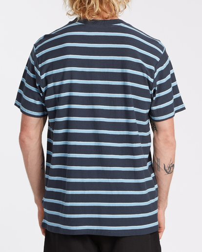 2 Die Cut Stripe Short Sleeve Crew T-Shirt Blue M9041BDI Billabong