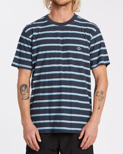 0 Die Cut Stripe Short Sleeve Crew T-Shirt Blue M9041BDI Billabong