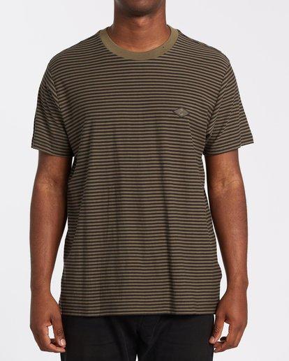 0 Die Cut Stripe Short Sleeve Crew T-Shirt Green M9041BDI Billabong
