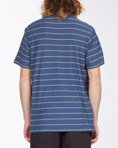 2 Die Cut Stripe Short Sleeve Crew T-Shirt Blue M9041BDI Billabong