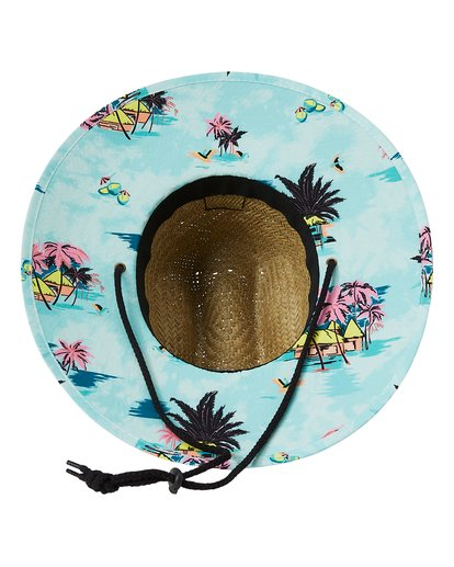 4 Tides Print Straw Lifeguard Hat Green MAHW1BTP Billabong