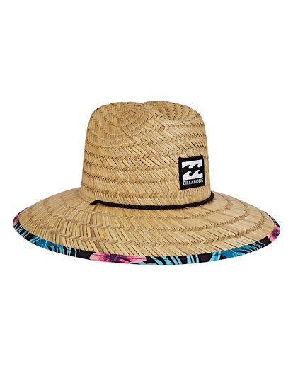 2 Tides Print Lifeguard Straw Hat Black MAHWVBTP Billabong