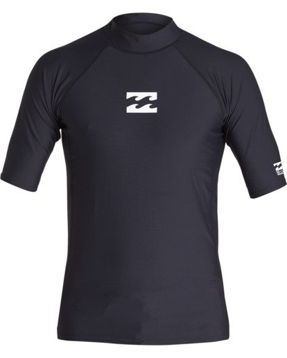 0 All Day Wave Performance Fit Short Sleeve Rashguard Black MR021BAL Billabong