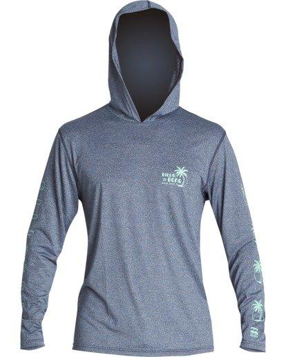 1 Social Club Hooded Loose Fit Long Sleeve Surf Shirt Blue MR521BSC Billabong
