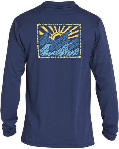 1 Crayon Wave Loose Fit Long Sleeve Rashguard Blue MR593BCW Billabong