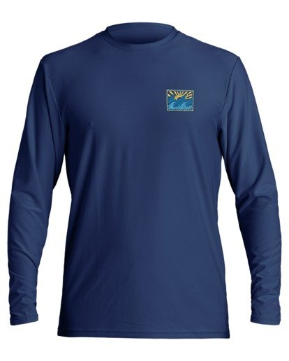 0 Crayon Wave Loose Fit Long Sleeve Rashguard Blue MR593BCW Billabong