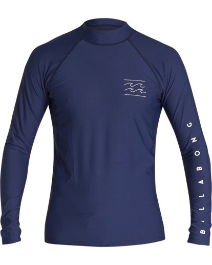 0 Unity Performance Fit Long Sleeve Rashguard Blue MR601BUY Billabong