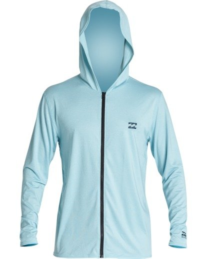 0 All Day Wave Loose Fit Long Sleeve Zip Hooded Surf Shirt Blue MR701BAL Billabong