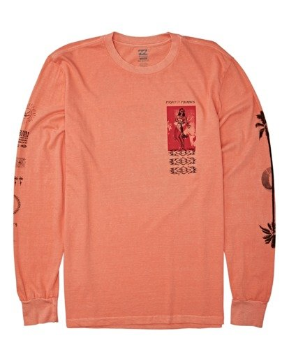 3 Providence Long Sleeve T-Shirt Orange MT432BPR Billabong
