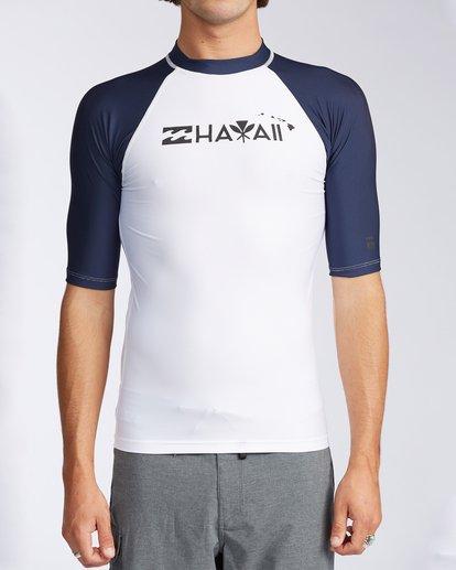 0 Hawaii Label Raglan Short Sleeve Rashguard White MWLYCHLR Billabong