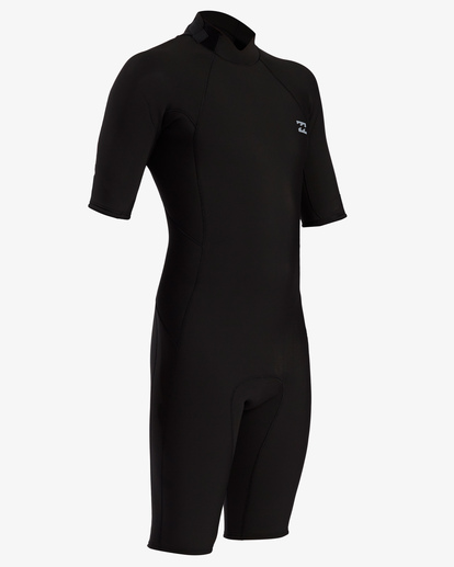 2 2/2 Absolute Back Zip Short Sleeve Flatlock Spring Wetsuit Black MWSP3BAB Billabong