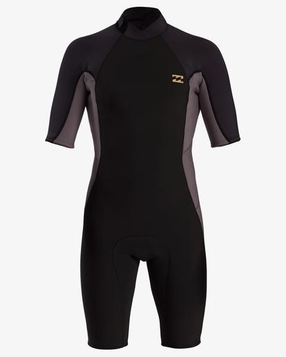 1 2/2 Absolute Back Zip Short Sleeve Flatlock Spring Wetsuit Black MWSP3BAB Billabong