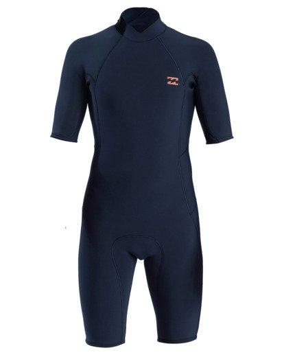 0 2/2 Absolute Back Zip Short Sleeve Flatlock Spring Wetsuit Blue MWSP3BAB Billabong