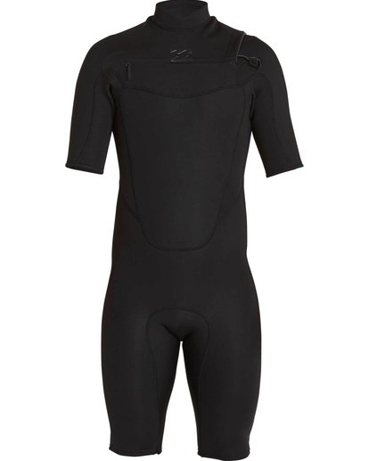 1 2mm Absolute Comp Short Sleeve Chest Zip Springsuit Black MWSPNBAC Billabong