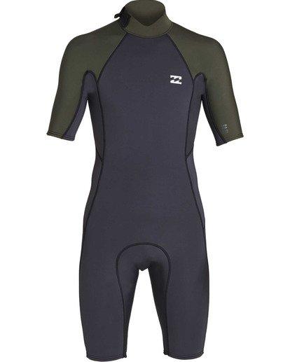 1 2mm Absolute Back Zip Short Sleeve Flatlock Spring Suit Black MWSPTBAB Billabong