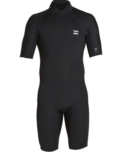 1 2mm Absolute Back Zip Short Sleeve Flatlock Spring Suit Black MWSPTBAB Billabong