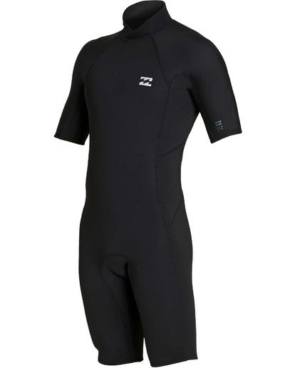 0 2mm Absolute Back Zip Short Sleeve Flatlock Spring Suit Black MWSPTBAB Billabong