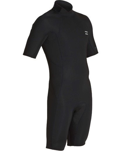 2 2mm Absolute Back Zip Short Sleeve Flatlock Spring Suit Black MWSPTBAB Billabong