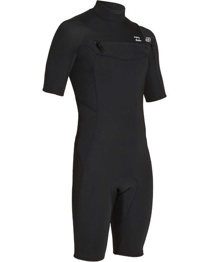 2 2mm Absolute Chest Zip Short Sleeve GBS Springsuit Black MWSPTBAG Billabong