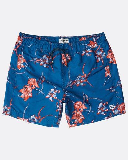 """0 All Day Floral Laybacks 16"""" Boardshorts Azul N1LB02BIP9 Billabong"""