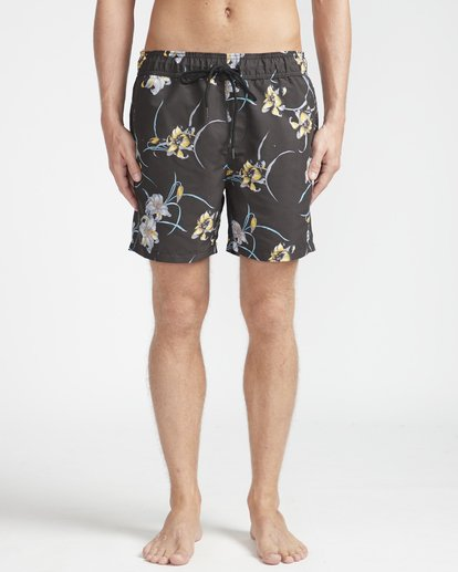 "4 All Day Floral Laybacks 16"" Boardshorts Schwarz N1LB02BIP9 Billabong"