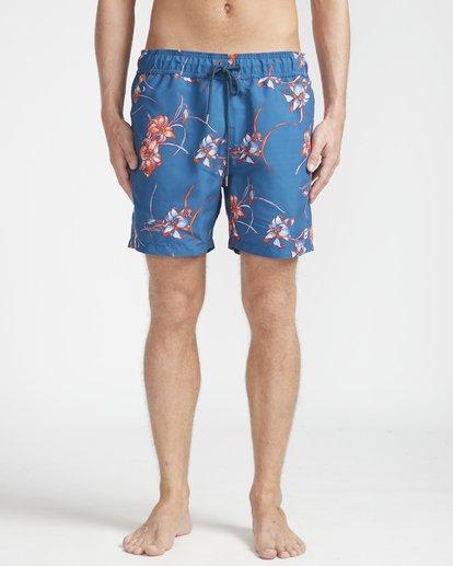 """4 All Day Floral Laybacks 16"""" Boardshorts Azul N1LB02BIP9 Billabong"""