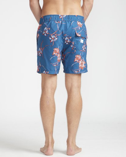 """7 All Day Floral Laybacks 16"""" Boardshorts Azul N1LB02BIP9 Billabong"""