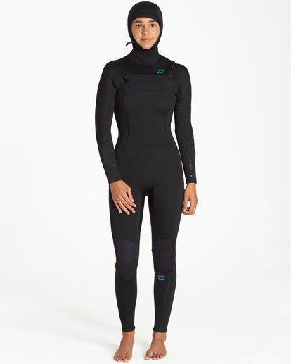 1 5/4mm Furnace Synergy Hd GBS - Chest Zip Hood Fullsuit Neoprenanzug für Frauen Schwarz Q45G04BIF9 Billabong