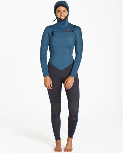 0 5/4mm Furnace Synergy Hd GBS - Chest Zip Hood Fullsuit Neoprenanzug für Frauen Schwarz Q45G04BIF9 Billabong
