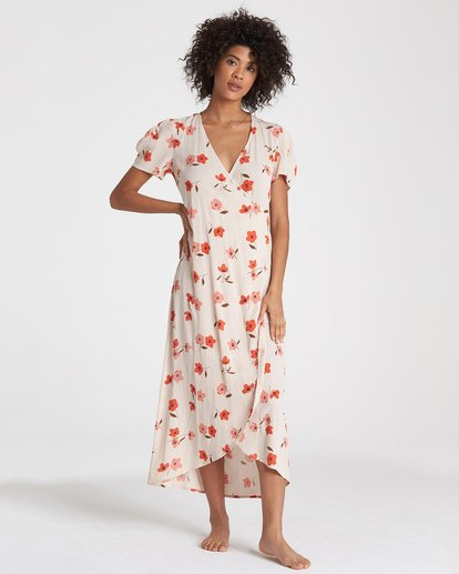2 Floral Fields - Vestido midi cruzado para Mujer  R3DR10BIMU Billabong