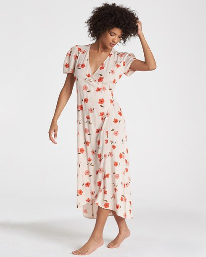 4 Floral Fields - Vestido midi cruzado para Mujer  R3DR10BIMU Billabong