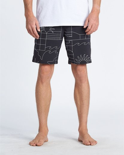 "9 Sundays 19"" - Printed Board Shorts for Men Black S1BS51BIP0 Billabong"