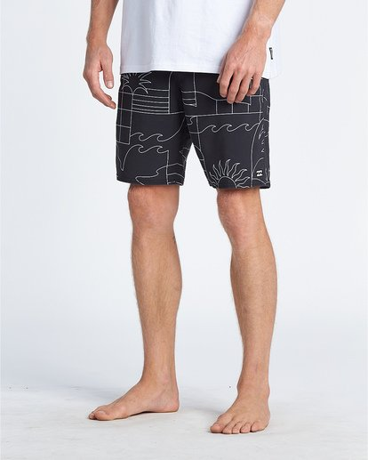 "11 Sundays 19"" - Printed Board Shorts for Men Black S1BS51BIP0 Billabong"