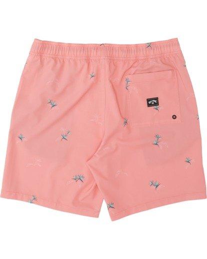 "3 Sundays Pigment Laybacks 17"" - Elastic Waist Board Shorts for Men Pink S1LB02BIP0 Billabong"