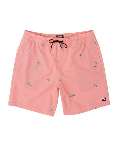 "2 Sundays Pigment Laybacks 17"" - Elastic Waist Board Shorts for Men Pink S1LB02BIP0 Billabong"