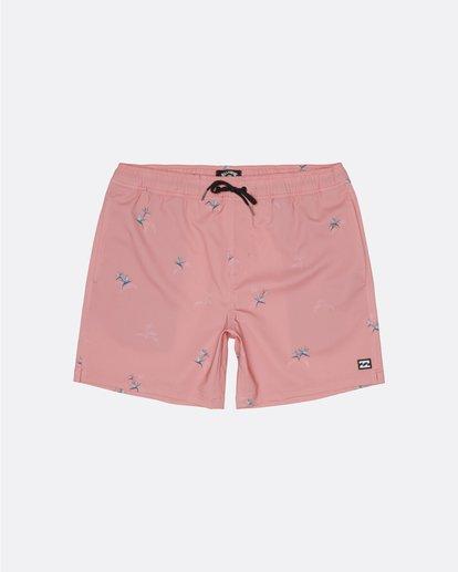 "0 Sundays Pigment Laybacks 17"" - Elastic Waist Board Shorts for Men Pink S1LB02BIP0 Billabong"