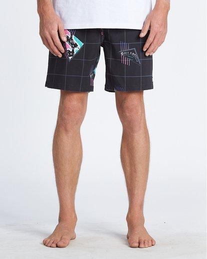 """9 Sundays Pigment Laybacks 17"""" - Bañador de surf de pantalón con cintura elástica para Hombre Negro S1LB02BIP0 Billabong"""