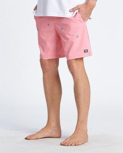 "6 Sundays Pigment Laybacks 17"" - Elastic Waist Board Shorts for Men Pink S1LB02BIP0 Billabong"