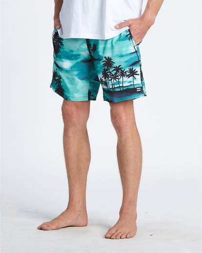"6 Sundays Pigment Laybacks 17"" - Elastic Waist Board Shorts for Men Blue S1LB02BIP0 Billabong"