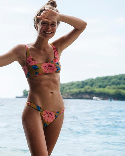 0 Beach Bazaar Tanga - Braguita de bikini floreada para Mujer Amarillo S3SB14BIP0 Billabong