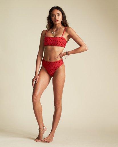 3 Rio Rain Maui - Braguita de bikini de tiro alto con estampado de lunares para Mujer Rojo S3SB68BIP0 Billabong
