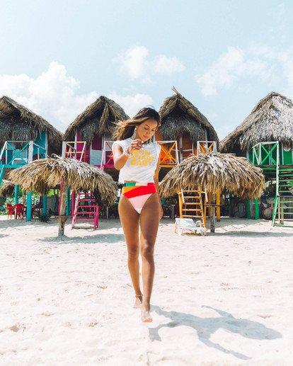 1 Mas Fiestas Rise - Braguita de bikini de tiro alto con rayas multicolor para Mujer Multicolor S3SB71BIP0 Billabong
