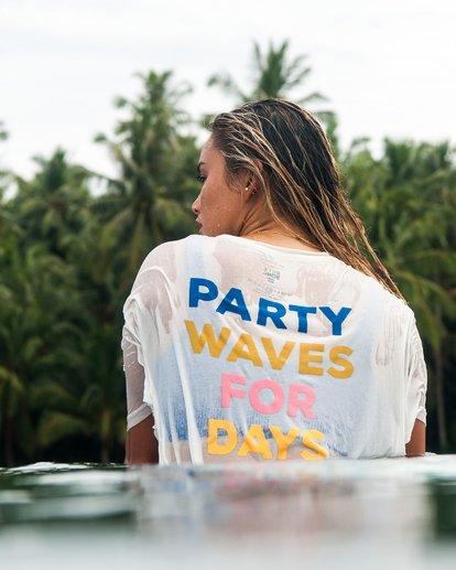 1 Party Waves - Camiseta con estampado gráfico para Mujer Blanco S3SS15BIP0 Billabong