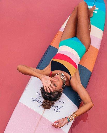 1 Mas Fiestas - Badeanzug mit Multicolor-Streifen für Damen Mehrfarbig S3SW28BIP0 Billabong