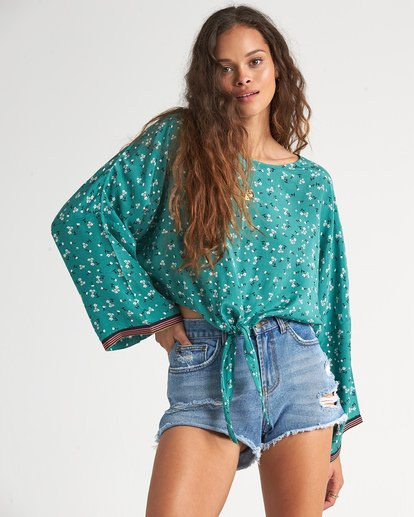 0 Back Round - Printed Blouse for Women Blue S3TP04BIP0 Billabong