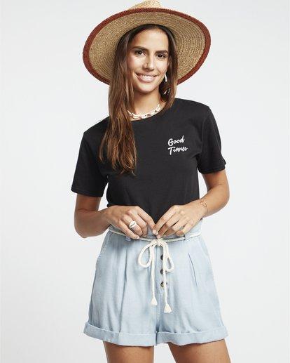 0 Explore More - Pantalones cortos de cambray con cintura paper bag para Mujer Azul S3WK12BIP0 Billabong