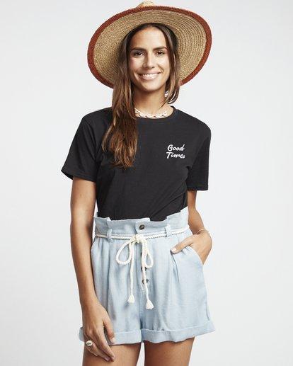1 Explore More - Pantalones cortos de cambray con cintura paper bag para Mujer Azul S3WK12BIP0 Billabong