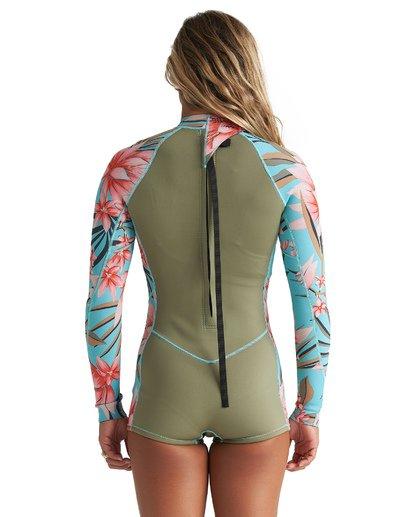 1 2mm Spring Fever - Traje de surf corto de manga larga para Mujer Verde S42G59BIP0 Billabong